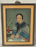 ANTIQUE CHINESE REVERSE PAINTED GLASS PAINTING PORTRAIT ART WELL DRESSED WOMAN