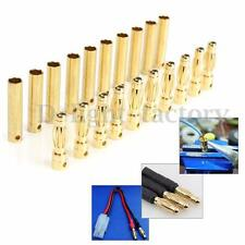 20 Pairs Gold Plated 4mm Metal Bullet Connector Banana Plugs Adapter RC Battery