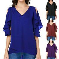 Ladys Chiffon Flutter Sleeve V-Neck T-Shirt Short Sleeve Tops Blouse Plus Size
