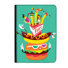 "Burger & Fries Hot Dog Funny Food Universal Tablet 7"" Leather Flip Case Cover"