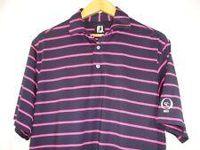 FootJoy Mens Short Sleeve Very Dark Blue Electric Pink Stripe Polo Golf Shirt M