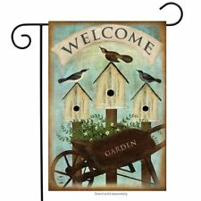 "Wheelbarrow Welcome Spring Garden Flag Birdhouses 12.5"" x 18"" Briarwood Lane"