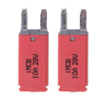 2 Pcs 10ATM Mini Blade Circuit Breaker Standard Type Auto Reset Durable Red