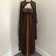 Vintage 50's Strapless Dress Brown Orange Chiffon Feather Trim Gown Formal 4