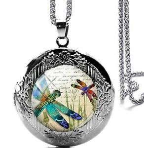 """Beautiful Dragonfly Locket Pendant Necklace with 24"""" Stainless Steel Chain"""