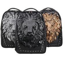 men pu leather Retro Lion Head Backpack Punk Travel School Rucksack shoulder bag