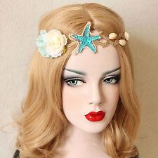 MERMAID HEADBAND Starfish Flowers Shell Elastic Star Fancy Dress Party Hair Band