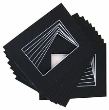 Pack of 10 8x10 BLACK Picture Mats with White Core Bevel Cut for 5x7 Pictures