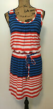 MUD PIE Women's Sleeveless Stretch Red White & Blue Striped Dress Size SMALL NEW