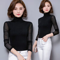 New Womens Mesh Lace Long Sleeve Tops Sheer Sexy Turtleneck Blouses Lady's Shirt