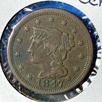 1847 1C Braided Hair Cent (55820)