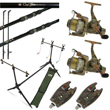 CAMO CARP FISHING SET UP 2 X 12FT CARP RODS + 2 X CARP REELS + 2 X ALARMS + POD