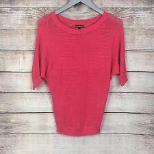 EXPRESS Women's Orange Red Knit Striped Top 1/2 Bat Wing Sleeve Size XS