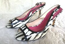 KATE SPADE PATENT LEATHER ANIMAL PRINT OPEN TOE SLING BACK PUMP SZ 8B