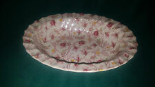 "Spode Rosebud Chintz Pink Roses Yellow Flowers 9.5"" Oval Vegetable Serving Bowl"