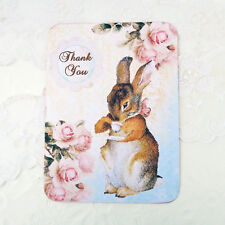 NEW Rabbit Thank You Cards-Vintage Blank Note Cards- Baby Shower- Set- 6