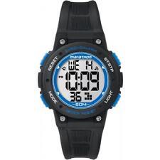 Orologio TIMEX Marathon TW5K84800 Silicone Nero Blu Chrono Timer Sveglia 50mt