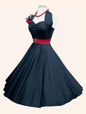 VIVIEN OF HOLLOWAY 1950s Halterneck Black Sateen Circle Dress RP£89 10 Halloween