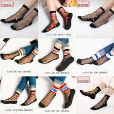 Women Summer Crystal Lace Silk Thin Transparent  Short Stockings Glass Socks jm