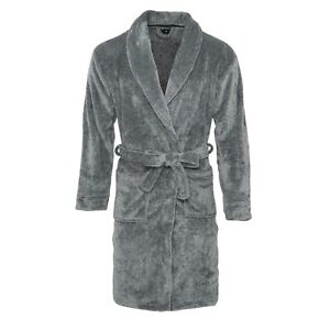 Mens Luxury Grey Fleece Super Soft Dressing Gown Robe Pockets Cozy Xmas Gift