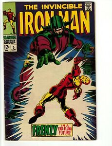 """Invincible Iron Man #5 (Marvel) Silver Age """"Frenzy In A Far-Flung Future"""" FN"""