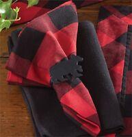 "Buffalo Check Red & Black Plaid 18"" Dinner Napkins Set of 4 Park Designs Lodge"