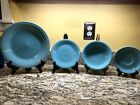 Fiesta Fiestaware Dinnerware Lot Of Four - Turquoise Plates, Bowl And Saucer