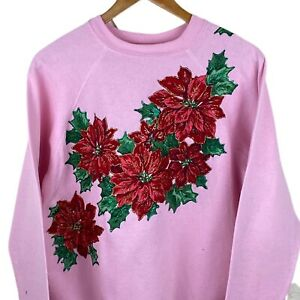 Y2K Christmas Poinsettia Floral Textured Sweatshirt on Tultex Tag - L Large Pink