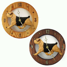 Norfolk Terrier Wood Clock Blk/Tan