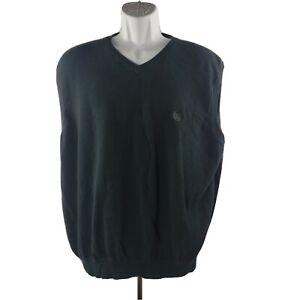 Chaps V-Neck Sweater Vest XXL Black Cotton Sleeveless
