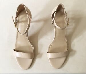 Women Michael Kors MK Simone Mid Heel Buckle Up Sandal Leather Oyster