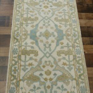 "2'6""x8' New knotted Wool Turkish Oushak Oriental Modern rug runner"