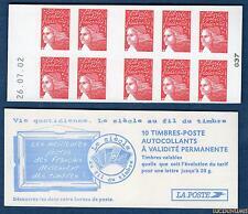 Carnet - 3419 C7 - 26.07.02 Bas - Type Marianne du 14 Juillet RF - TVP rouge N°