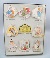 VTG Mother Goose Wooden Ornaments Christmas Nursery Rhymes Set of 8 NOS