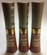 3 X L'oreal Glam Shine Dazzling Plumpnig Lipcolor Lip Gloss Debut #105 NEW.