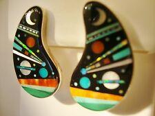 Amazing Ladies Kidney Shaped Pierced Planet Comet Opal Turquoise Earrings
