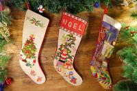 Decorated XMas Tree Gifts Cute TeddyBear Handmade Needlepoint Christmas Stocking