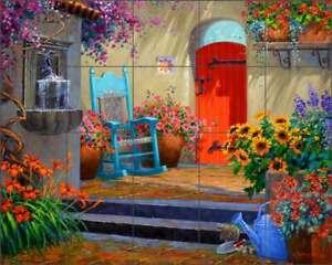 Garden Tile Backsplash Mikki Senkarik Floral Art Ceramic Mural MSA260