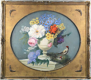 Gorgeous Flemish school Oil canvas painting birds oval framed 1970's flowers