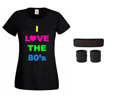 Mujer I LOVE THE 80s Camiseta Diadema & Brazalete Set Neón Fiesta Disco moderno