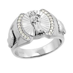 Men's Sterling Silver CZ Stones Santa Muerte Horse Sides Round Shape Ring