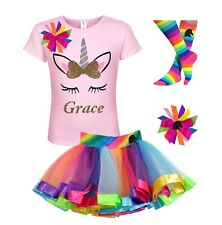 Bubblegum Divas Personalized Unicorn Shirt Rainbow Tutu Girls Birthday 4PC Gift
