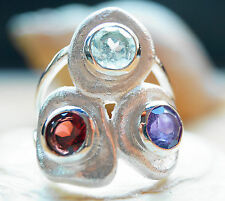 Silberring 54 Handarbeit Granat Rot Blautopas Amethyst Silber Ring Matt Massiv
