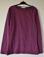 NEW EX SEASALT UK SIZE 8 - 18 LOW LIGHT RED NAVY STRIPED COTTON JERSEY TOP