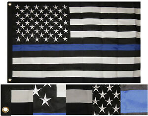 2.5x4 Embroidered Sewn Police Memorial USA Synthetic Cotton Flag 2.5'x4' 2 Clips