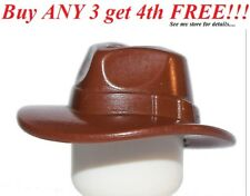 ☀️NEW Lego Minifig Reddish BROWN FEDORA HAT Outback Indiana Jones Minifigure