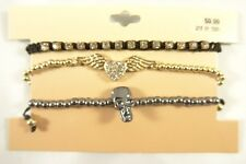 New 3 Piece Bracelet Set with Hematite Skull & Crystal Heart Wings #B1420