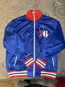 Philadelphia 76ers Mitchell & Ness Mens Lightweight Satin Jacket 3X
