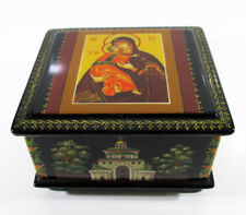 Russian Lacquer box Vladimirskaya Holy Mother of God Hand Painted #236