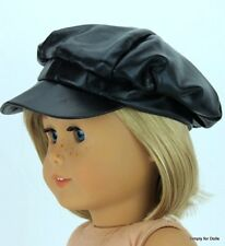 """BLACK Leather Look DOLL CAP HAT fits 18"""" AMERICAN GIRL Doll Clothes Accessory"""